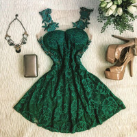Hot Sale Round-neck Lace Patchwork One Piece Dress [11545815631]