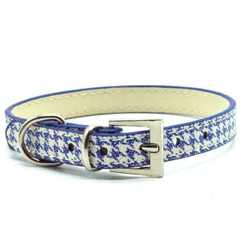 Classic Houndstooth Dog Collar (Blue)