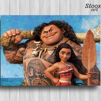 disney moana and maui poster disney decor moana gift