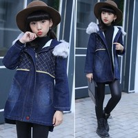 DreamShining Winter Children's Clothing Coats Girls Denim Jacket Warm Cotton Hooded Kids Jackets Thick Velvet Outwear For Kids