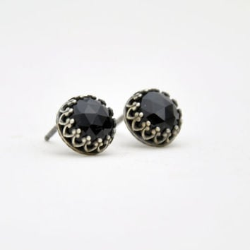 Black Onix Gemstone Stud Earrings - Rose Cut Cabochon 8mm - Sterling Silver Crown Bezel Post Earrings - Simple Everyday Jewelry