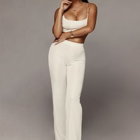 White Prosecco Crop and Wide Leg Pants