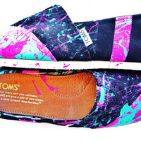 The Millie - Fuscia and Teal Neon Splatter Paint Custom TOMS