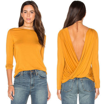 Yellow Backless Back Wrap Around Long Sleeve Blouse