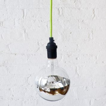 Neon Green/Yellow Pendant Light Cord w/ Giant Silver Globe Bulb