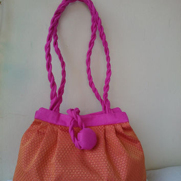 Bag orange & gold little dots, silk brocade, pink linen, hand bag and shoulder bag, trendy,elegant and casual, hand made in France