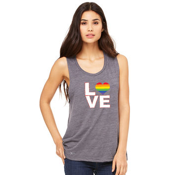 Zexpa Apparel™ Love is Love - Love Wins Rainbow Women's Muscle Tee Pride LGBT Sleeveless