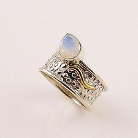 Moonstone Two Tone Sterling Silver Leaf Ring