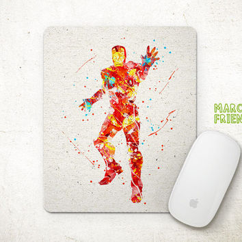 Iron Man Mouse Pad, Avengers Watercolor Art, Mousepad, Office Decor, Holiday Gifts, Art Print, Home Decorations, Avengers Accessories