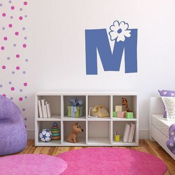 Wall Decal Personalized Flower Power Monogram Girls Room Nursery Decor 22385