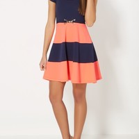 Coral Liverpool Belted Skater Dress | Skater Dresses | rue21