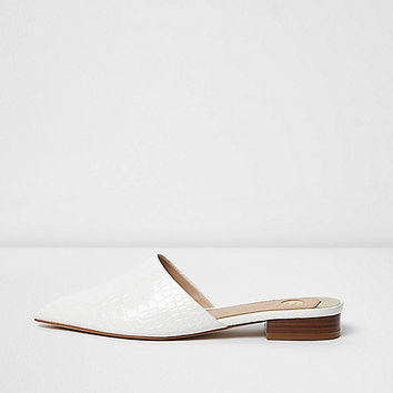 White croc embossed backless pointed shoes - shoes - shoes / boots - women