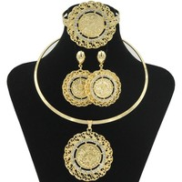 Rose.store New Dubai Jewelry Hoop Necklace Jewelry Sets Gold Coin Shape Pendant Necklace Ring Bracelet Earrings Female Jewelry
