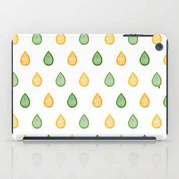 Yellow and green raindrops iPad Case by Savousepate
