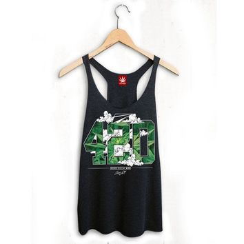 WOMENS 420 PAPER PLANES TANK