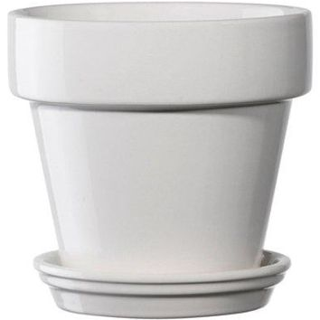 Deroma 5700361BF Ceramic Planter with Saucer, Medium, White