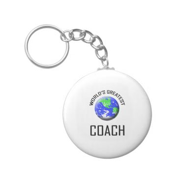 World's Greatest Coach Basic Round Button Keychain