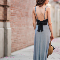 Elisa Black and Cream Striped Bow Back Maxi Dress