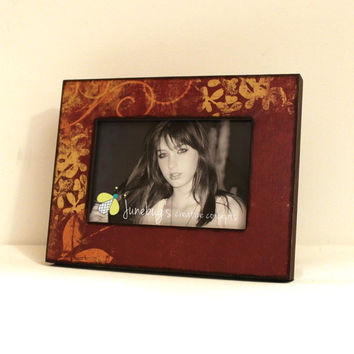 ready to ship 4x6 wood photo frame rust gold leaves