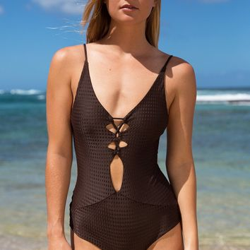 ACACIA Swimwear 2018 Kokomo Mesh One Piece in Husk