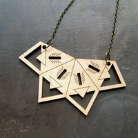 Lasercut Basswood Necklace with Geometric Arrow Design