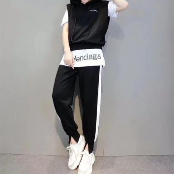 Balenciaga Women Casual Fashion Multicolor Letter Sleeveless Hooded Vest Short Sleeve T-shirt Trousers Set Three-Piece Sportswear