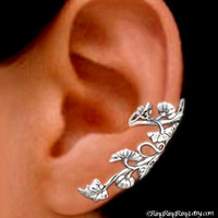 925. Art Nouveau Stream  - Sterling Silver ear cuff earring, Non pierced leaf and flower earcuff jewelry 011313