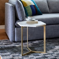 Hex Side Table – Antique Brass
