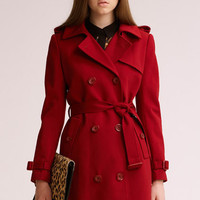 Classic Double-breasted Claret Trench Coat [NCSOS0169] - $201.99 :
