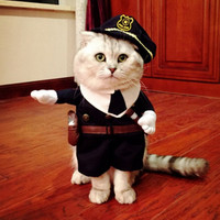 Pet POLICE Costume 2016 New Arrival Pet Funny Costumes for Cats and Small Dogs Party Halloween Pet Clothes Policeman Dog Clothes