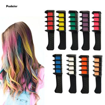 Pudaier 1PCS Disposable Salon Temporary Hair Dye Comb Professional Crayons Red Purple Hair Color Chalk Hair Dyeing Tool Pastel