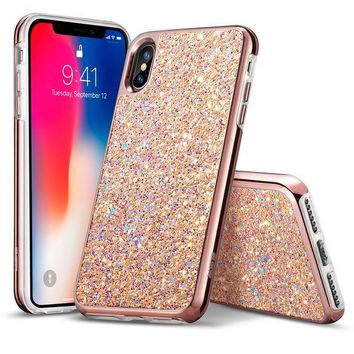 ONETOW ESR iPhone X Case, Glitter Bling Hard Cover with Dual Layer Structure [Hard PC Back Outer + Soft TPU Inner] for Girls Women [Support Wireless Charging] for iPhone X/iPhone 10 (2017)(Metallic Peach)