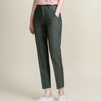Pinstriped Tapered Slacks | mixxmix