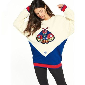 Adidas Women Fashion insect Print Clover Embroidery Top Sweater Pullover Sweatshirt
