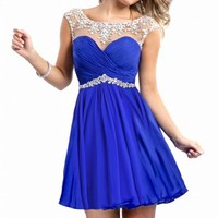 Beaded Cap Sleeve Mini Chiffon Homecoming Short Cocktail Dresses Prom Party Gown