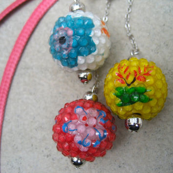 Pink Dangling Bubble Ball Necklace - Yellow - White - Long Colorful Necklace