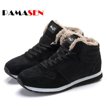 2016 Fashion Men Women Winter Snow Boots keep Warm Boots Plush Ankle boot Snow Work Shoes Men's Women's Outdoor Snow Boots 36-47