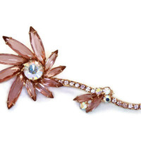 Vintage  Rhinestone Juliana Flower Brooch in Lavender and AB  D&E