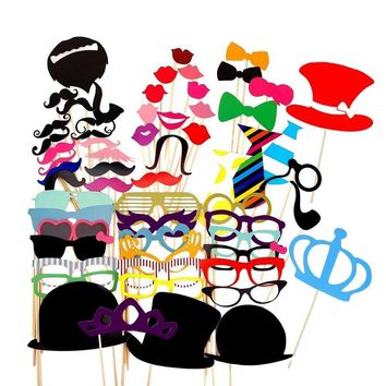 60 Pieces Wedding Party Decor Funny Mustache Photobooth Birthday Party Supplies