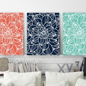 Flower Outline Wall Art Canvas or Prints  Flower Bedroom Pictures, Coral Navy Aqua Bathroom Decor, Flower Wall Hanging, Set of 3 Wall Decor