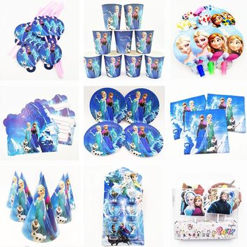 Princess Elsa Frozen birthday party decorations Tablecloth Cup Plate Napkin Bag Candy / 27 options