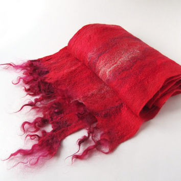 Long Felted scarf  Bright Red Warm Cozy Winter  Fire Red  Unisex scarf   gift under 75