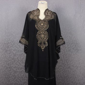 Black Short Caftan Embroidery Dress Petite Chiffon Wedding Summer Party Kaftan Blouse Dress