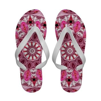 Twirling Pink, Abstract Candy Lace Jewels Mandala Flip-Flops