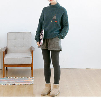 Casual Turtleneck Loose Embroidery Set head Sweater