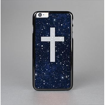 The Vector White Cross v2 over Bright Starry Sky Skin-Sert for the Apple iPhone 6 Plus Skin-Sert Case