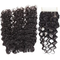 Hair bundles with closure Indian Unprocessed water wave Virgin Human Hair 3 Bundles With Lace Closure hair weaving human virgin hair bundles