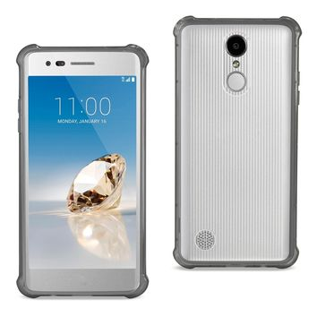 LG Aristo/ Fortune/ Phoenix 3 Clear Bumper Case With Air Cushion Protection (Clear Black)