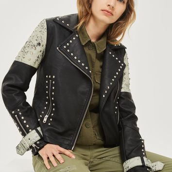 Maddox Faux Leather Biker Jacket | Topshop