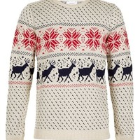 Topman Reindeer and Snowflake Pattern Crewneck Sweater | Nordstrom